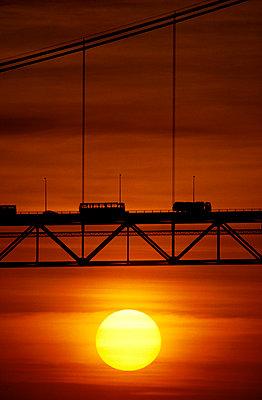 Suspension bridge at sunset - p1395m1466005 by Tony Arruza