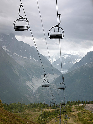 Chairlift in alpine landscape - p3882777 by Donna Weather