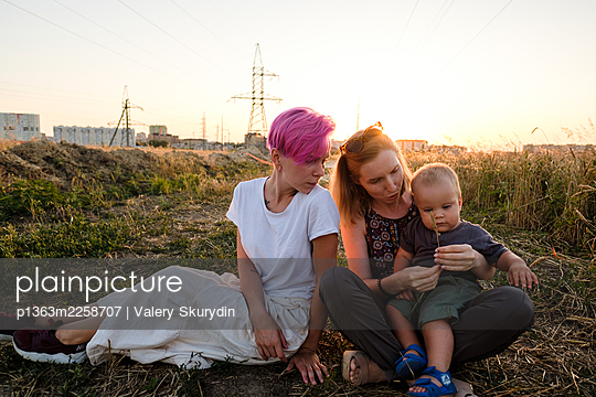 Woman with son and sister  - p1363m2258707 by Valery Skurydin