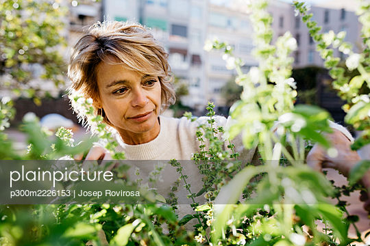 Mature woman looking at flowering plant while standing at rooftop garden - p300m2226153 by Josep Rovirosa