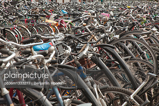 Bicycles in front of train station.
