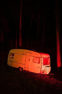 Wrecked caravan in forest - p1418m2219816 by Jan Håkan Dahlström
