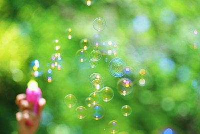 Soap bubbles and grass - p307m1106010f by Yusuke Nakanishi