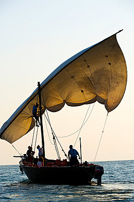 Family cruise round Lake Malawi in a traditional dhow - p6521857 by John Warburton-Lee