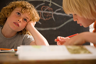 Boys in the classroom - p6690938 by Jutta Klee photography