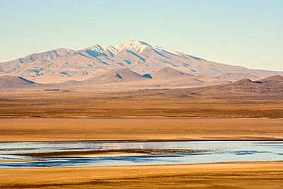 A late afternoon brings out the colours of a laguna in a south-american desert with a snow-capped mountain peak on the horizon; Malargue, Mendoza, Argentina - p442m2032181 by Philippe Widling
