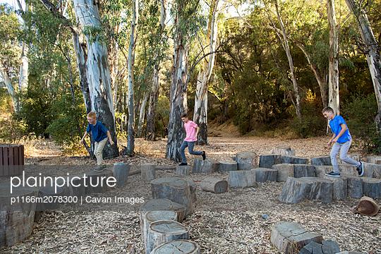 Three brothers run across tree stumps - p1166m2078300 by Cavan Images
