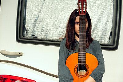 Girl with guitar - p1412m2133495 by Svetlana Shemeleva