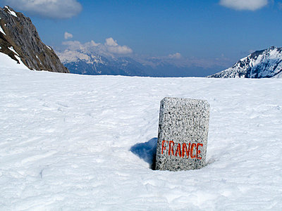 Boundary stone between France and Switzerland on the alps - p1025m780301f by Björn Andrén