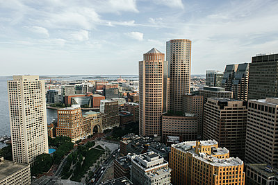 High angle view of cityscape against sky - p1166m1209465 by Cavan Images