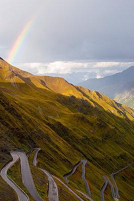 Italy, South Tyrol, Ortler Alps, Passo dello Stelvio, Stelvio Pass, Rainbow - p300m978848f by Karl Thomas
