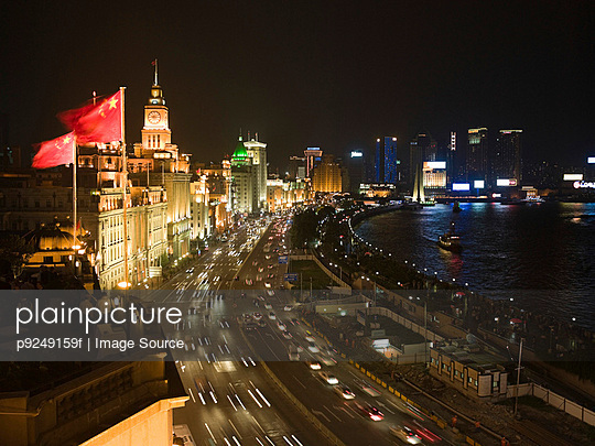Shanghai at night - p9249159f by Image Source
