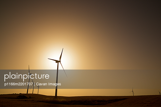 Windmills for electric power production at sunrise. - p1166m2201707 by Cavan Images