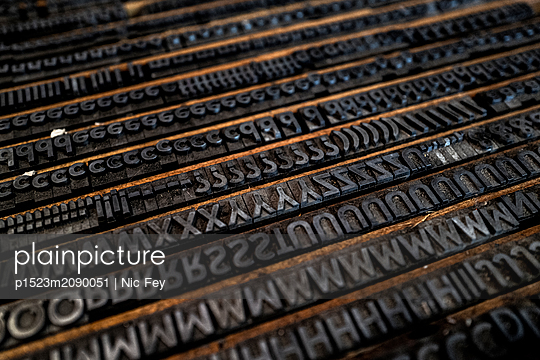 Old Type case, Printing industry - p1523m2090051 by Nic Fey