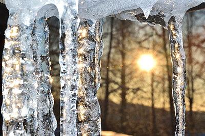 Eiszapfen und untergehende Sonne - p235m2044213 von KuS