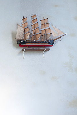 Old Boat Model in a church - p445m709590 by Marie Docher