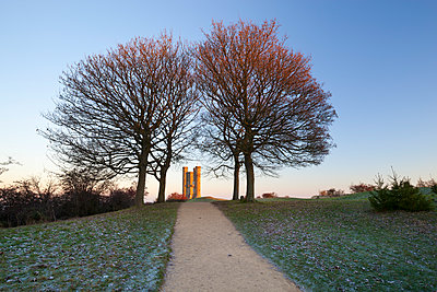 Broadway Tower framed by trees in winter frost at sunrise, Broadway, Cotswolds, Worcestershire, England, United Kingdom, Europe - p871m1506663 by Stuart Black