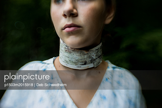 Girl with Birch Necklace - p1503m2015918 by Deb Schwedhelm