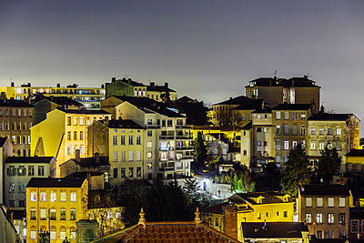 Town of Lyon at night - p910m1467725 by Philippe Lesprit
