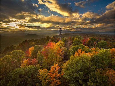 Fire Lookout Tower Surrounded By Autumn Trees With Adirondack Mountains In Background - p343m1218025 by Johnathan Ampersand Esper