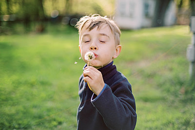 Little boy sitting in his the grass while blowing dandelion. - p1166m2194082 by Cavan Images