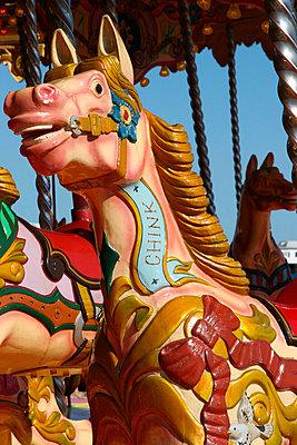 Detail Of Merry-Go-Round, Brighton Beach, England, Uk. - p442m840002 by Mark Thomas