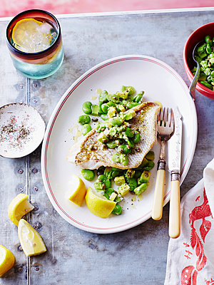 Steamed snapper fish with beans - p429m954388f by BRETT STEVENS