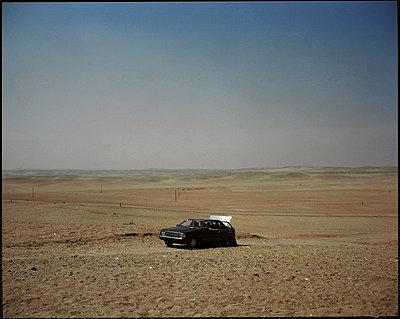 Two men in a car, Egypt - p1028m2002100 by Jean Marmeisse