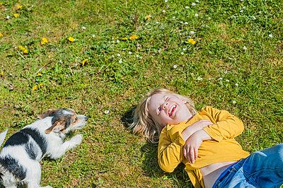 Boy playing with Jack Russel Terrier puppy in garden - p300m981102f by Jana Mänz