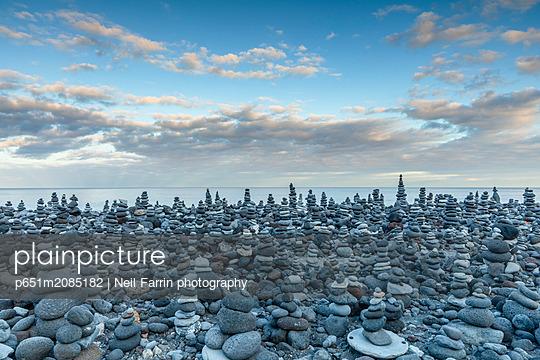 Stone Displays at Playa Jardin, Puerto de la Cruz, Tenerife, Canary Islands, Spain - p651m2085182 by Neil Farrin photography