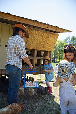 Family working on farm, collecting eggs from chicken coop - p924m1494988 by Kinzie Riehm