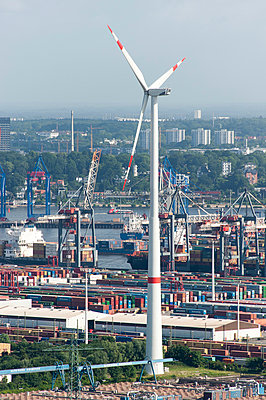 Wind turbine in the Harbour of Hamburg - p1079m890671 by Ulrich Mertens