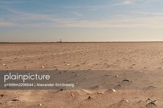 Lighthouse Westerheversand at low tide, Schleswig-Holstein - p1696m2296644 by Alexander Schönberg