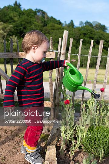Toddler watering garden flowers - p795m2230050 by JanJasperKlein
