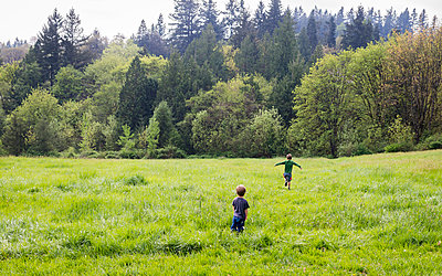 Rear view of brothers walking on grassy field in forest - p1166m1571042 by Cavan Social