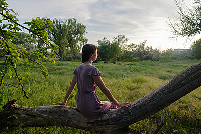 Woman is sitting on tree in field - p1363m2108788 by Valery Skurydin