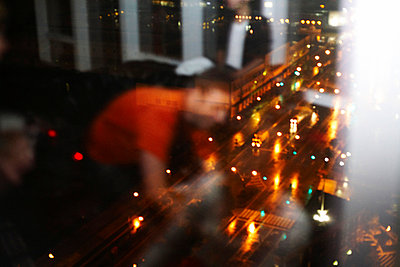 Small Group of People and Street Scene Through Window, New York City, USA - p694m663772 by Maria K