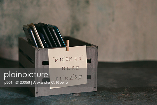 Mobile phone holder with sign - p301m2123058 by Alexandra C. Ribeiro