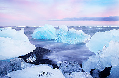 Ice on coast, dawn - p312m1103984f by Lena Koller