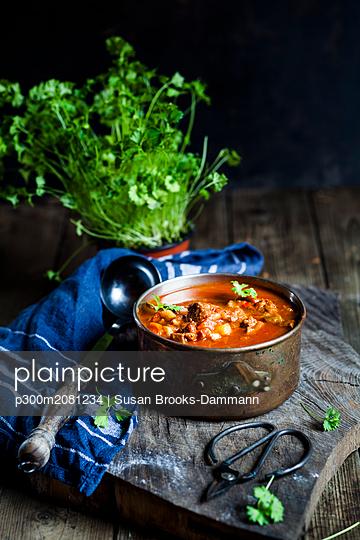 Goulash soup with flat leaf parsley - p300m2081234 by Susan Brooks-Dammann