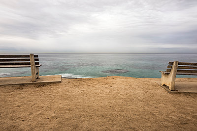Benches above the Pacific Ocean on a Winter morning - p1436m2044672 by Joseph S. Giacalone