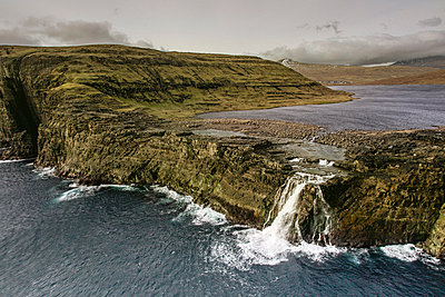 Bosdalafossur Waterfall Which Flows From Sorvagsvatn Directly Into Atlantic Ocean - p343m1218148 by Sergio Villalba