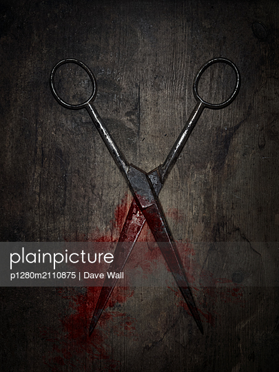 Vintage Scissors with Blood - p1280m2110875 by Dave Wall