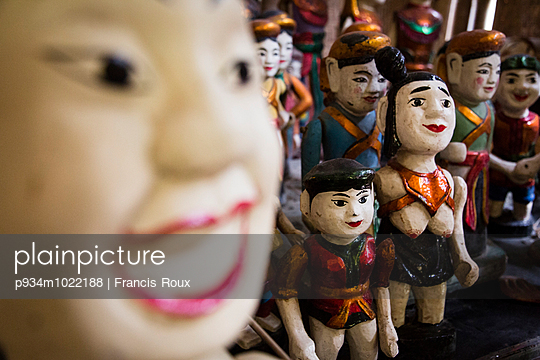 Water puppets displayed in the Long Viet private park complex, Ba Vi - p934m1022188 by Francis Roux photography