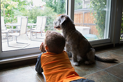 Curious boy laying at patio window with dog - p1192m1078215f by Hero Images