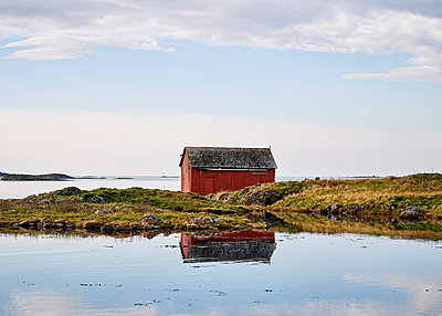 Norway, Shed by the Fjord - p1124m2228952 by Willing-Holtz
