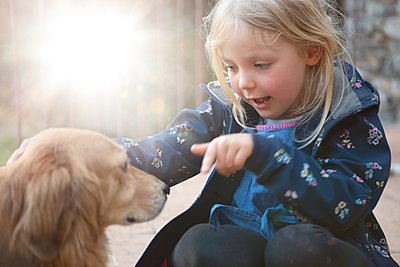 Playing with a dog - p454m2158735 by Lubitz + Dorner
