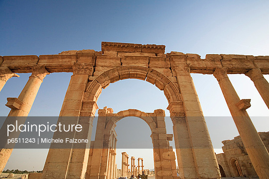 Syria, Palmyra ruins (UNESCO Site), Great Colonnade and Monumental Arch - p6511243 by Michele Falzone