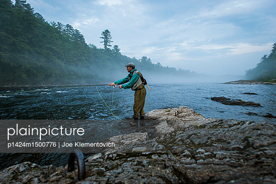 Fly fishing on the Kennebec River, Maine