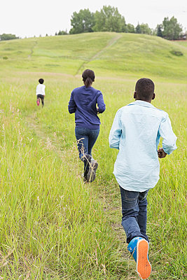 Rear view of siblings running through field - p1192m1043861f by Hero Images